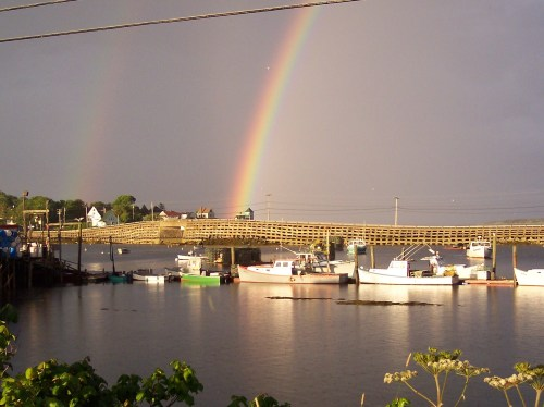 Rainbow over Bailey Island Bridge