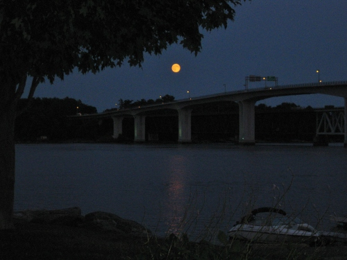 Super Moon Over Bath Maine Bridge